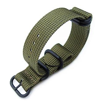 Strapcode n.a.t.o watch strap miltat 20mm, 22mm or 24mm 5 rings g10 zulu water repellent 3d nylon, military green, pvd black