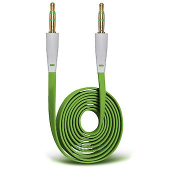 Huawei Honor 6 Plus Gold Plated 3.5mm Jack To Jack Connection Aux Auxiliary Audio Flat Cable (Green)