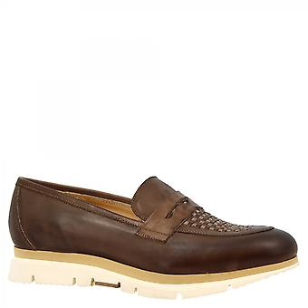 Leonardo Shoes Women's deslizamento artesanal em sapatos loafers marrom tecido couro de bezerro