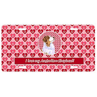 Australian Shepherd Valentine's Love and Hearts License Plate