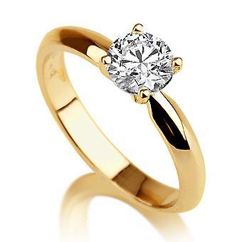 Schöne 1,00 ct weiß Saphir-Ring Gelb Gold 14K einzigartig