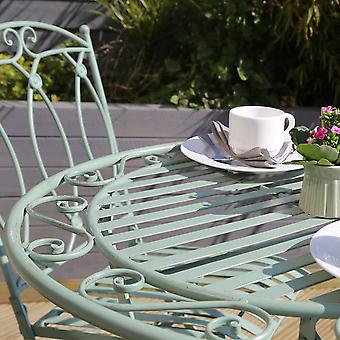 Charles Bentley Rustic Wrought Iron Bistro Set Lightweight Garden Outdoor, Strong & Sturdy in a Beautiful Sage Green