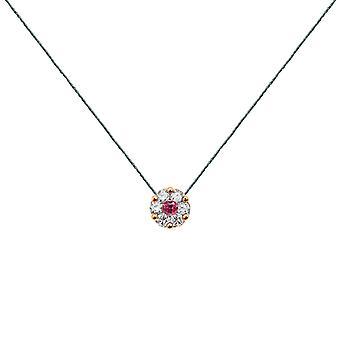 Collier duchesse Full Diamonds sur Ruby et 18K Gold, On Thread - Rose Gold, Jade
