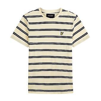 Lyle & Scott | Ts1223v Wide Double Stripe Yellow Crew Neck T-shirt - Buttercream