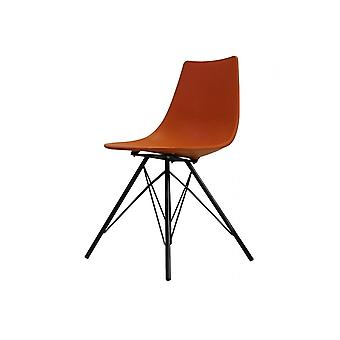 Fusion Living Iconic Orange Plastic Dining Chair With Black Metal Legs