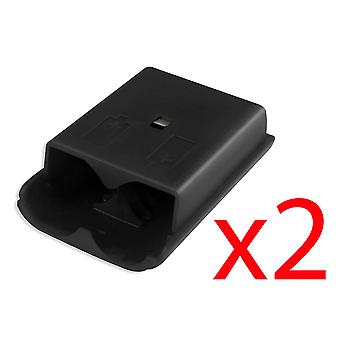 2x Xbox 360 Wireless Controller Black Battery Back Cover Pack Replacement Part