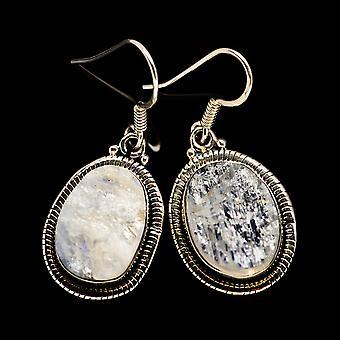 خشن قوس قزح أقراط حجر القمر 1 1/2 & نقلا عن ( 925 الاسترليني فضة) -- اليدوية المصنوعة بوهو خمر مجوهرات EARR402023