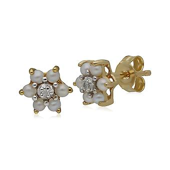 Classic Floral Pearl & Diamond Stud Earrings in 9ct Yellow Gold 181E0726039