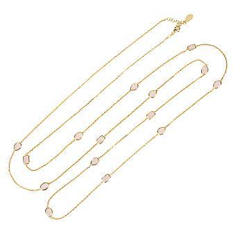 Latelita lang kæde Gemstone halskæde guld lyserød rosenkvarts 120cm delikat 925