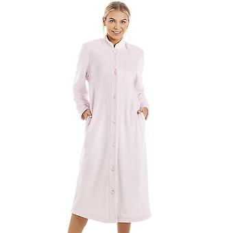 Camille Supersoft Button Front Pink Housecoat