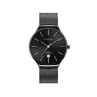 Strand By Obaku S701GDBBMB Caspian-Charcoal Black Mesh Wristwatch
