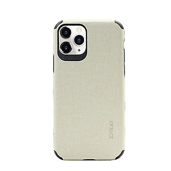 For iPhone 11 Pro Case Fabric Texture Denim Fashionable Protective Cover Beige