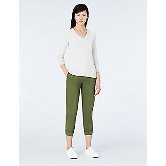 MERAKI Women's Cotton V Neck Sweater, Beige (Linnen), EU L (US 10)