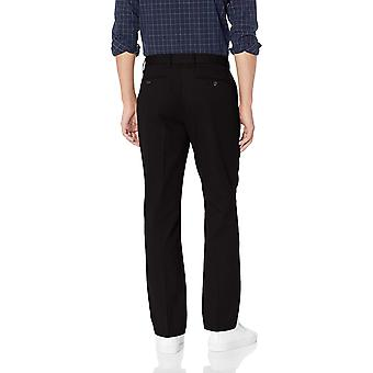 Essentials Men's Straight-Fit Wrinkle-Resistant Flat-Front Chino Pant, True Black, 36W x 29L