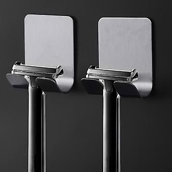 Stainless Steel Men Razor Holder For Bathroom - Wall Adhesive Storage Hooks For Kitchen And Shaver Holders