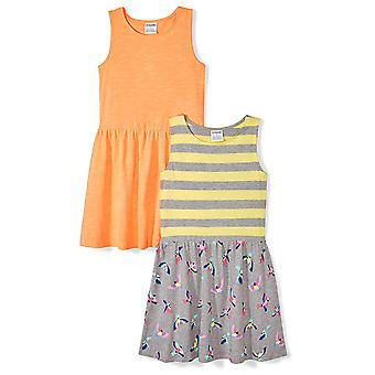 Brand - Spotted Zebra Girls' Big Kid 2-Pack Knit Sleeveless Fit and Fl...