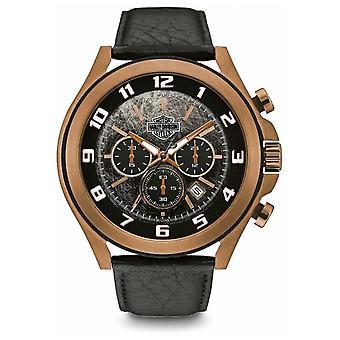 Harley Davidson Men's Black Leather Bracelet | Black Dial | 78B148 Watch