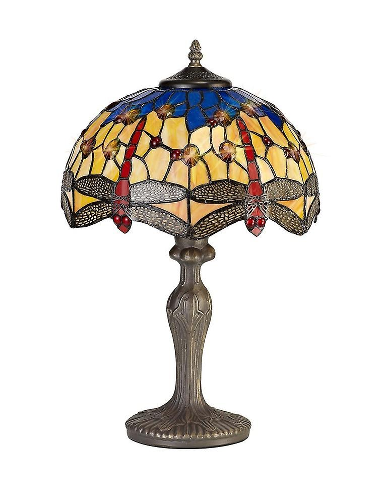 1 Light Downlighter Ceiling Pendant E27 With 30cm Tiffany Shade, Blue, Orange, Crystal, Aged Antique Brass