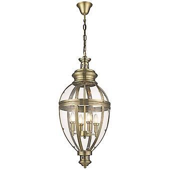 Spring Lighting - 4 Light Ceiling Pendant Antique Brass Glass, E14