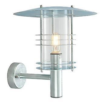 1 Light Outdoor Wall Lantern Light Galvanised IP54, E27