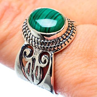 Malachite Ring Size 9 (925 Sterling Silver)  - Handmade Boho Vintage Jewelry RING26706