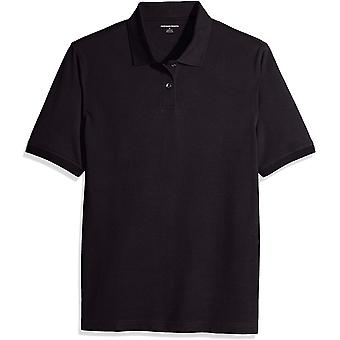 Essentials Men's Regular-Fit Cotton Pique Polo Shirt, Svart, X-Large