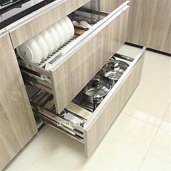 201/304 Stainless Steel Double-deck Pull-out Basket/drawer For Kitchen Cabinet