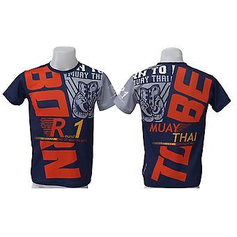 تي شيرت Muay التايلاندية أعلى التايلاندية الملاكمة MMA الرياضة ارتداء للجنسين - (البحرية)