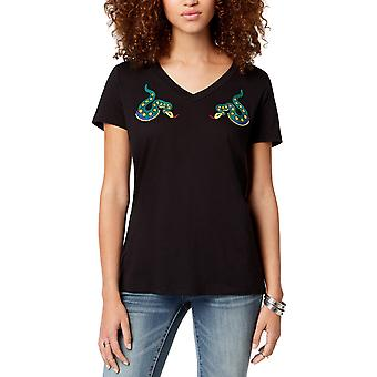 Carbon Copy | Snakes Embroidered V Neck T-Shirt