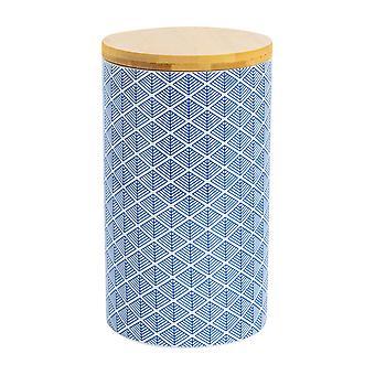نيكولا الربيع هندسية منقوشة الشاي السكر علبة - مطبخ الخزف الصغيرة التخزين - الأزرق البحرية - 10cm