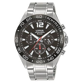 Lorus Mens Chronograph Watch Sunray Black Dial & Stainless Steel Strap RT335JX9