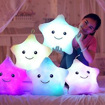 Luminous Star Cushion Colorful Glowing Pillow Plush Doll Star Moon Led Light Toys For Boy Girl Christmas Gift (1pc)
