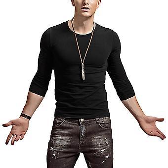 Allthemen الرجال & apos;ق سليم ضيق تناسب قميص طويل الأكمام الصلبة رقيقة أعلى خفيفة الوزن