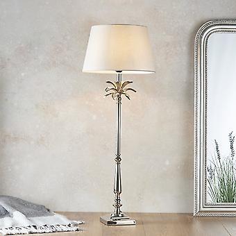 Lampada da tavolo piastra nickel lucidata e cotone grigio pallido 1 luce IP20 - E27