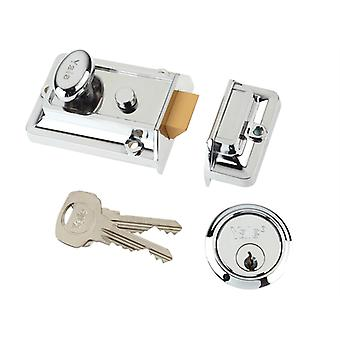 Yale Locks P77 Traditional Nightlatch 60mm Backset Chrome Finish Box YAL77CH