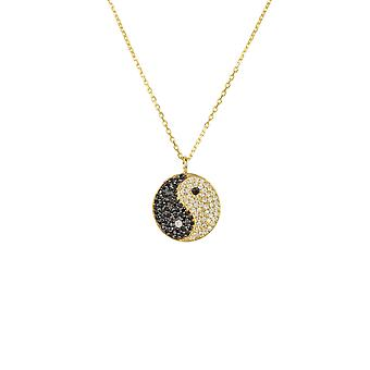 Yin and Yang Pendant Necklace Gold Charm Chinese Chain Black Silver 925 Gemstone