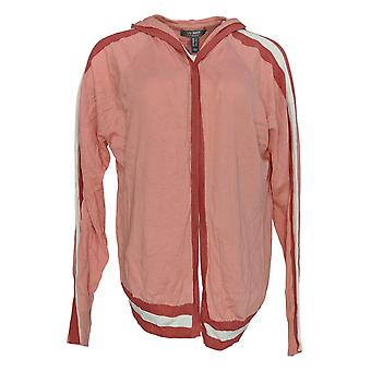 Lisa Rinna Collection Women's Sweater Hooded Cardigan Pink A305077