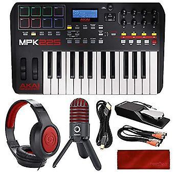 Akai professional mpk225 usb midi keyboard & drum pad controller with lcd screen + usb mic + headphones + deluxe bundle