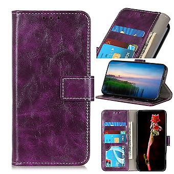 For Motorola Moto G 5G Plus Retro Crazy Horse Texture Horizontal Flip Leather Case with Holder & Card Slots & Photo Frame & Wallet(Purple)