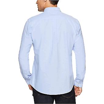 Essentials Men's Regular-Fit Long-Sleeve Solid Oxford Shirt, Albastru, XX-...