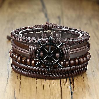 Vnox Assorted Men's Bracelets Mixed Leather Wrap, Bangles Punk, Male Rock