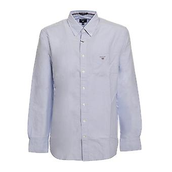 Gant Men Shirt Regular Sky blue Plain