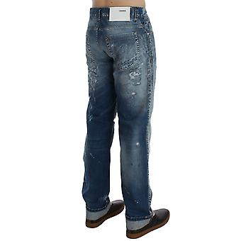 Acht Niebieski Wash Torn Denim Cotton Regular Fit Jeans
