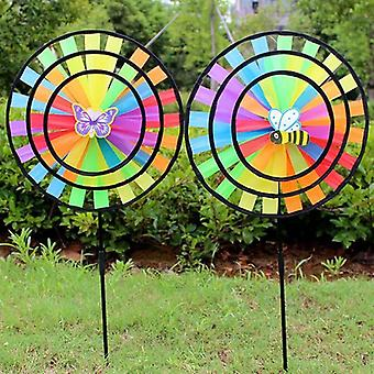 Rainbow Triple Wheel Wind Spinner - Vindmølle til Havehave Decor
