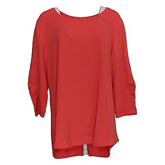 H By Halston Women's Top French Terry Scoop-Neck Tunic Red A352995