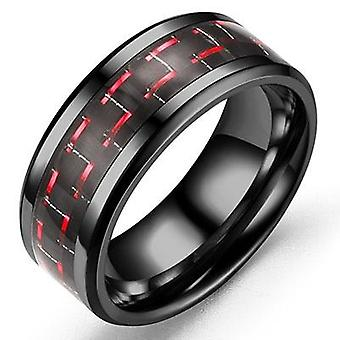Dominante Ring Carbon Fiber Dragon Inlay Comfort Fit Roestvrij Staal Bruiloft