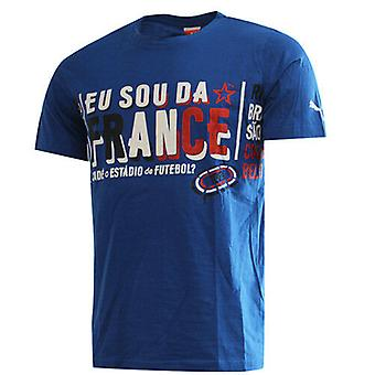 Puma Моя нация Франция Голубой короткий рукав Экипаж Мужская Top футболка 745320 11 RW101