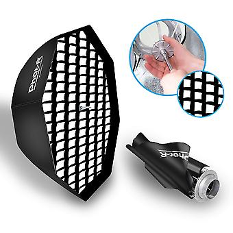 Phot-r 80cm umbrella octagon softbox + honeycomb grid bowens s-type mount speedring + inner & outer