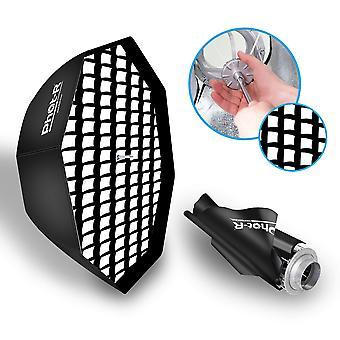 Phot-r 80cm Regenschirm Achteck Softbox + WabenGitter bowens s-typ mount speedring + innen & außen