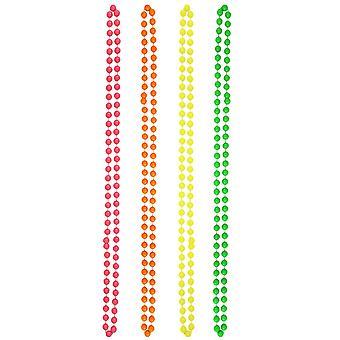 The glowhouse - ensemble haut de gamme de 4 néons multicolores fluorescents 80's colliers de perles rave one size néon